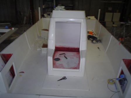 Tarpon boat console glassed to deck